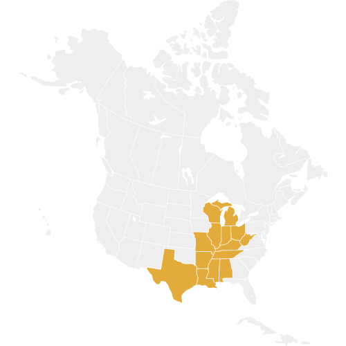 Central Region States are highlighted on a map of North America in gold