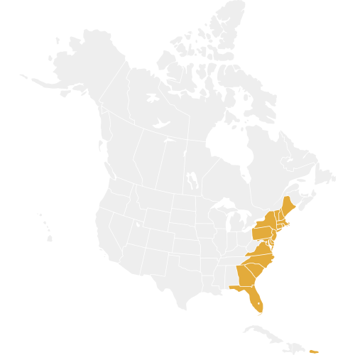 Eastern Region States are highlighted on a map of North America in gold
