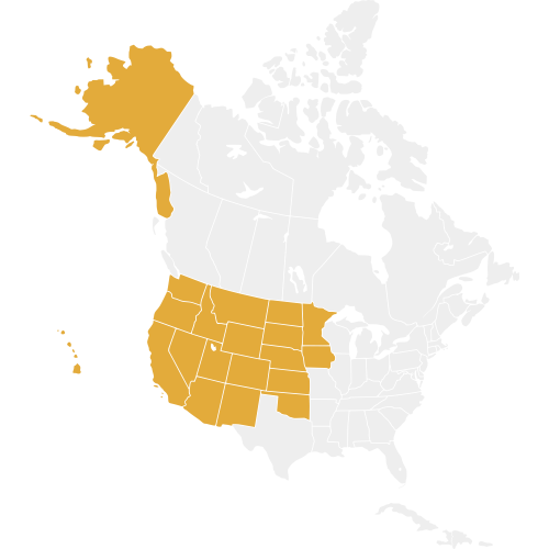 Western Region States are highlighted on a map of North America in gold